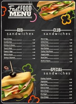 Manifesto pubblicitario del menu dei panini del fast food