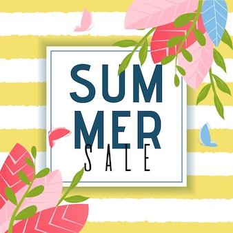 Manifesto pubblicitario delle vendite estive. disegno del fogliame e farfalle volanti