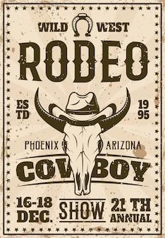 Manifesto pubblicitario di rodeo show per eventi in stile retrò