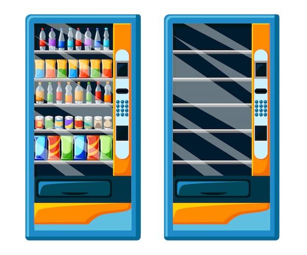 Manifesto pubblicitario distributore automatico vintage con set di confezioni di snack e bevande set di distributori automatici di cibo e bevande illustrazione stilizzata. pagina del sito web e app per dispositivi mobili