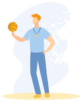 Manifesto pubblicitario pallacanestro formazione cartoon.
