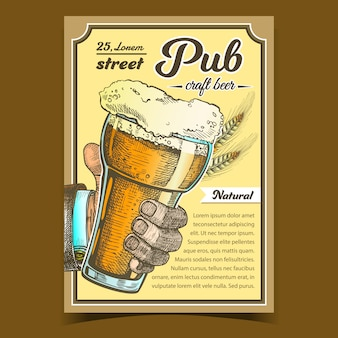Manifesto pubblicitario pub birra artigianale naturale
