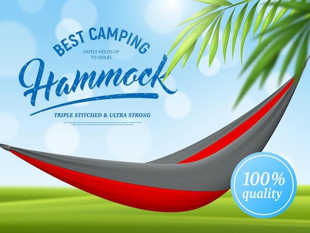 Manifesto pubblicitario realistico del ramo di palma e dell'amaca su verde blu con effetto bokeh
