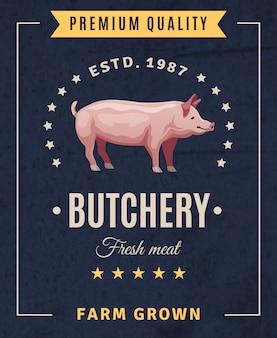 Manifesto pubblicitario vintage di carne fresca di macelleria con elementi di design e maiale su sfondo nero