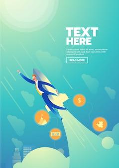 Manifesto startup dell'uomo d'affari con testo
