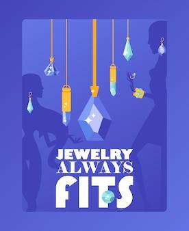 Manifesto tipografico di gioielleria