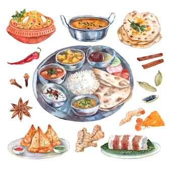 Manifesto tradizionale della composizione nei pittogrammi degli ingredienti alimentari del ristorante di cucina indiana