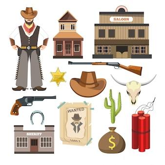 Manifesto variopinto piano di simboli del segno di vettore del modello del cowboy.