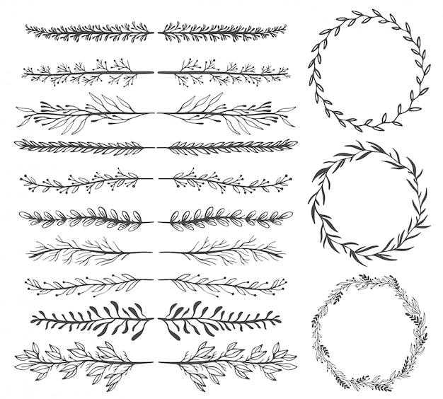 Mano abbozzato elementi vintage vettoriali: ghirlanda, foglie, cornice.