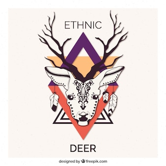 Mano cervi disegnato etnica