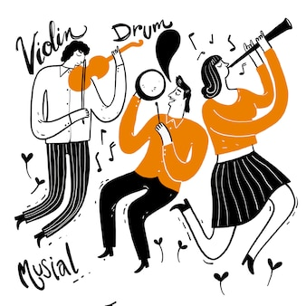 Mano che disegna i musicisti che suonano musica