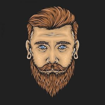 Mano che disegna l'illustrazione barbuta d'annata di vettore del fronte dell'uomo