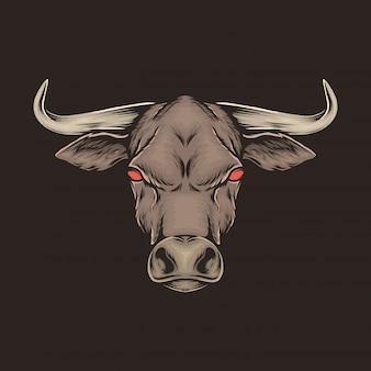 Mano che disegna l'illustrazione d'annata di vettore della testa di toro