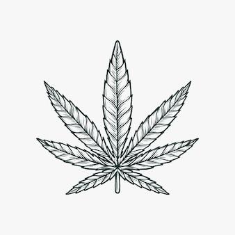 Mano che disegna l'illustrazione monocromatica d'annata di vettore della marijuana