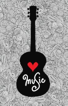 Mano che disegna la chitarra acustica di doodle