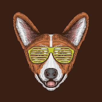 Mano che disegna la testa d'annata del corgi con l'illustrazione degli occhiali da sole