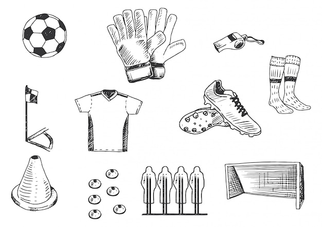 Mano che disegna set di illustrazione di attrezzature di formazione di calcio.