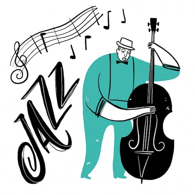 Mano che disegna un uomo che suona musica