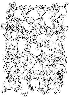 Mano che dissipa il gruppo di gatti carino doodle