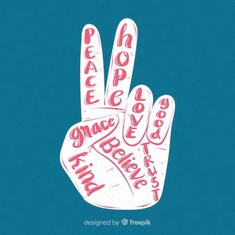 Mano che fa il segno di pace con stile disegnato a mano
