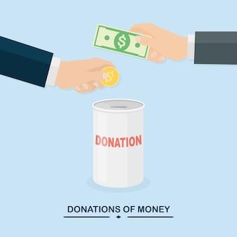 Mano che mette moneta, contanti in vaso. donare, dare denaro, beneficenza, concetto di volontariato. casella di donazione sullo sfondo.