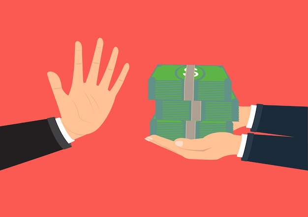 Mano che rifiuta la tangente offerta per corruzione aziendale