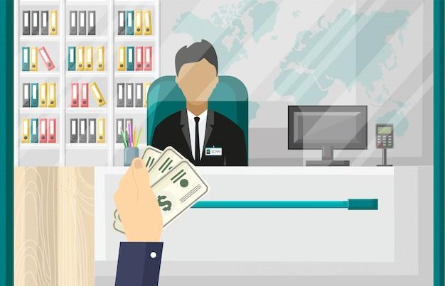 Mano che tiene denaro contante. illustrazione di interni banca ufficio. stile piano di concetto di conto bancario o di investimento
