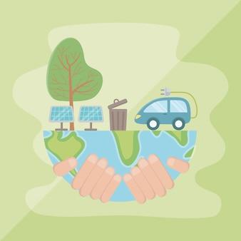 Mano che tiene il pianeta e salva la progettazione energetica