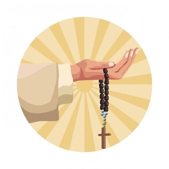 Mano che tiene il rosario