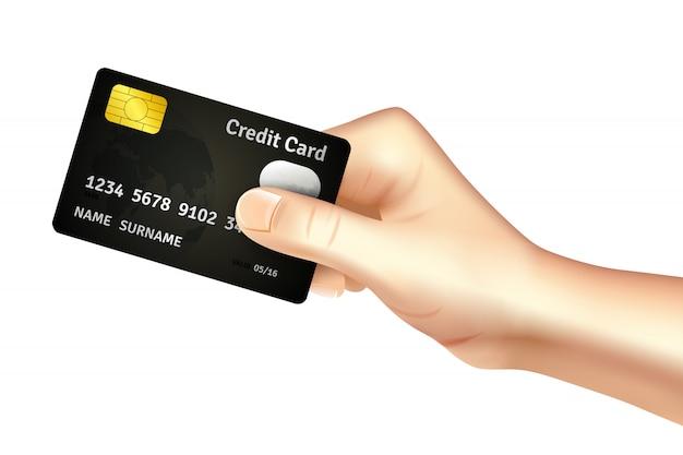 Mano che tiene l'icona della carta di credito