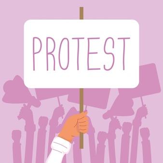 Mano che tiene la bandiera di protesta illustrazione