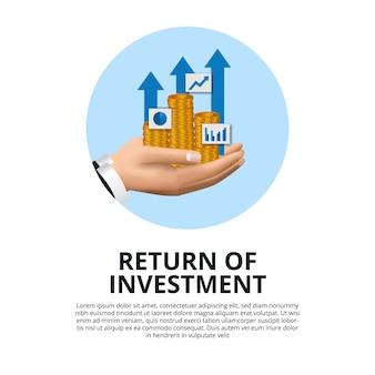 Mano che tiene moneta d'oro, grafico, ritorno della crescita della freccia dell'investimento roi