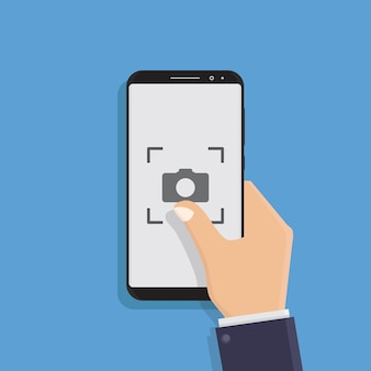 Mano che tiene smart phone, scattare foto, illustrazione