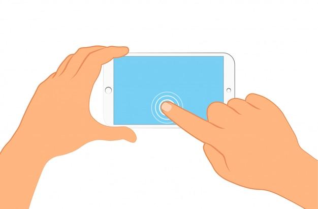 Mano che tiene smartphone. accedi alla pagina sullo schermo del telefono.