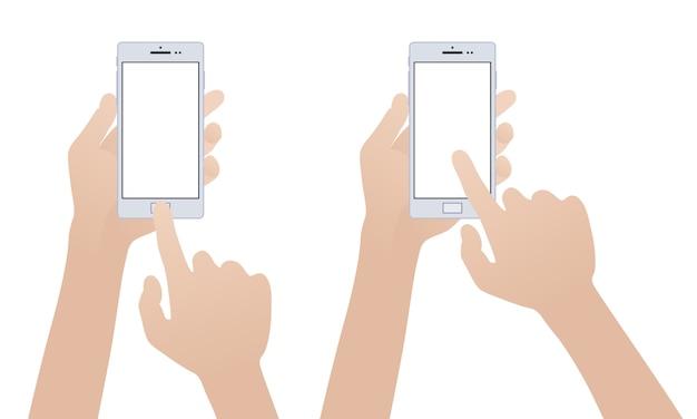 Mano che tiene smartphone bianco