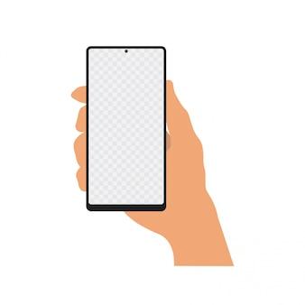 Mano che tiene smartphone realistico con schermo trasparente. vettore.