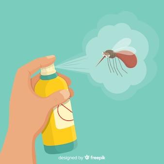 Mano che tiene spray di zanzare in stile piano