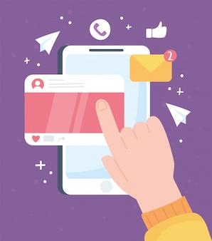 Mano che tocca il sistema e le tecnologie di comunicazione della rete sociale mobile dello schermo