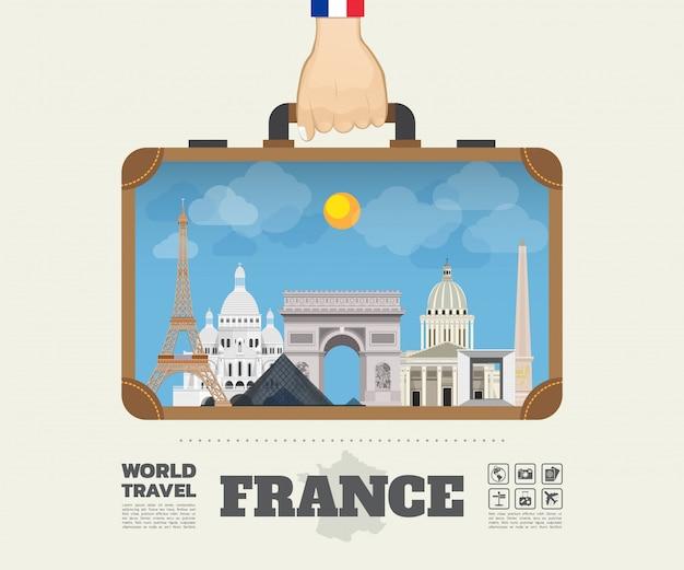 Mano che trasporta la borsa di infographic di viaggio e di viaggio globale del punto di riferimento della francia.