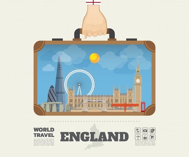 Mano che trasporta la borsa globale di infographic di viaggio e di viaggio del punto di riferimento dell'inghilterra.