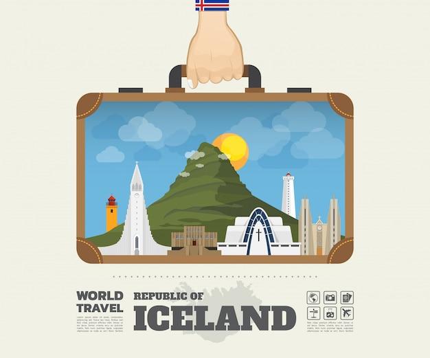 Mano che trasporta la borsa globale di infographic di viaggio e di viaggio del punto di riferimento dell'islanda.