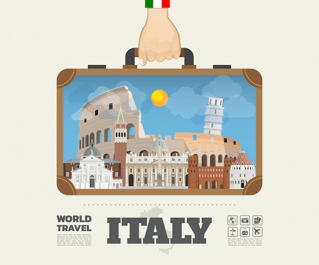 Mano che trasporta la borsa globale di infographic di viaggio e di viaggio del punto di riferimento dell'italia. vector flat design template.vector / illustration.può essere utilizzato per il tuo banner, affari, istruzione, sito web o qualsiasi opera d'arte