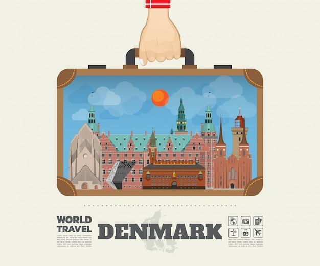 Mano che trasporta la borsa globale di infographic di viaggio e di viaggio del punto di riferimento della danimarca