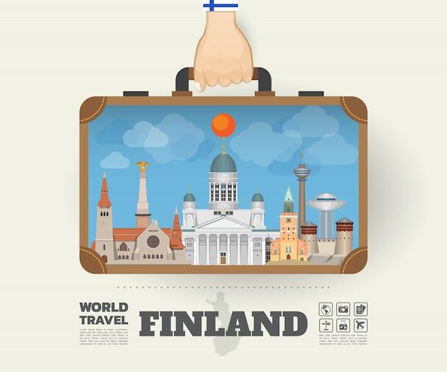 Mano che trasporta la borsa globale di infographic di viaggio e di viaggio del punto di riferimento della finlandia