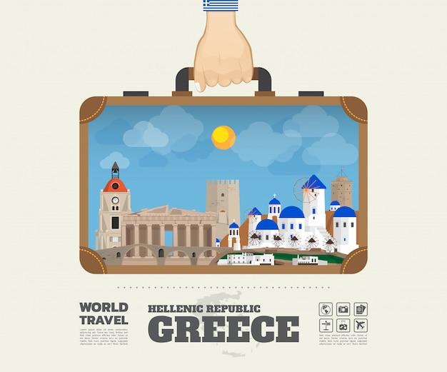 Mano che trasporta la borsa globale di infographic di viaggio e di viaggio del punto di riferimento della grecia.