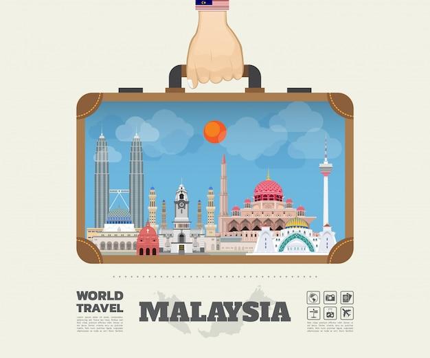 Mano che trasporta la borsa globale di infographic di viaggio e di viaggio del punto di riferimento della malesia.