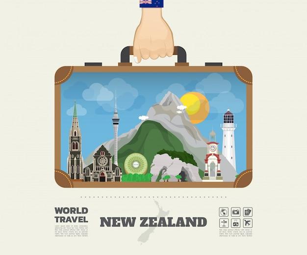 Mano che trasporta la borsa globale di infographic di viaggio e di viaggio del punto di riferimento della nuova zelanda.