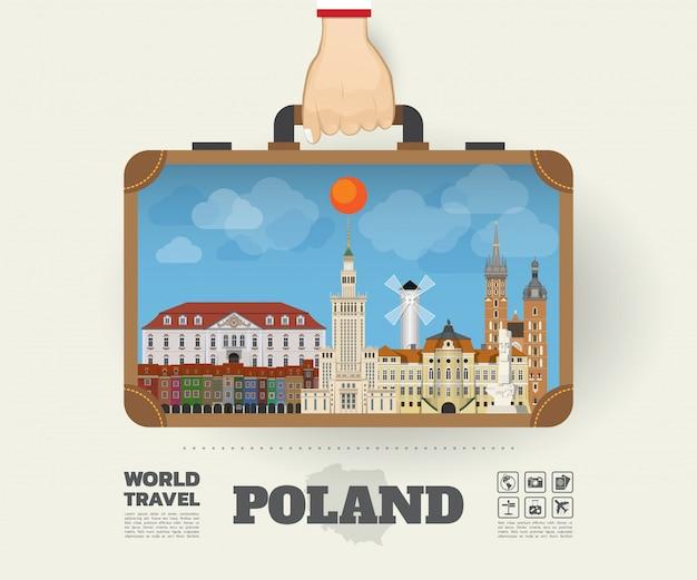 Mano che trasporta la borsa globale di infographic di viaggio e di viaggio del punto di riferimento della polonia.