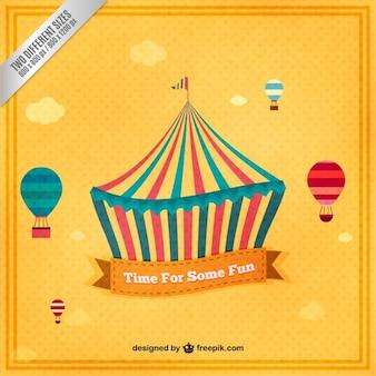 Mano circo disegnato tenda sfondo