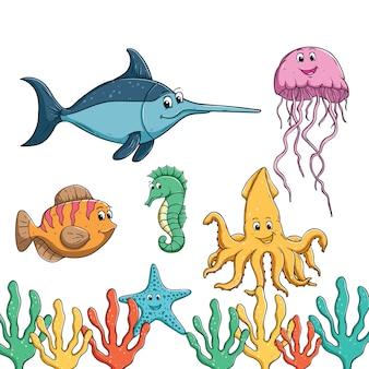 Mano colorata disegnata di sorriso e pesci carini